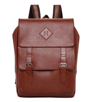 Wholesale Fashion Black PU Leather Man Laptop Backpack bag2